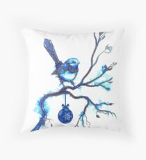 Christmas Blue Bird Throw Pillow