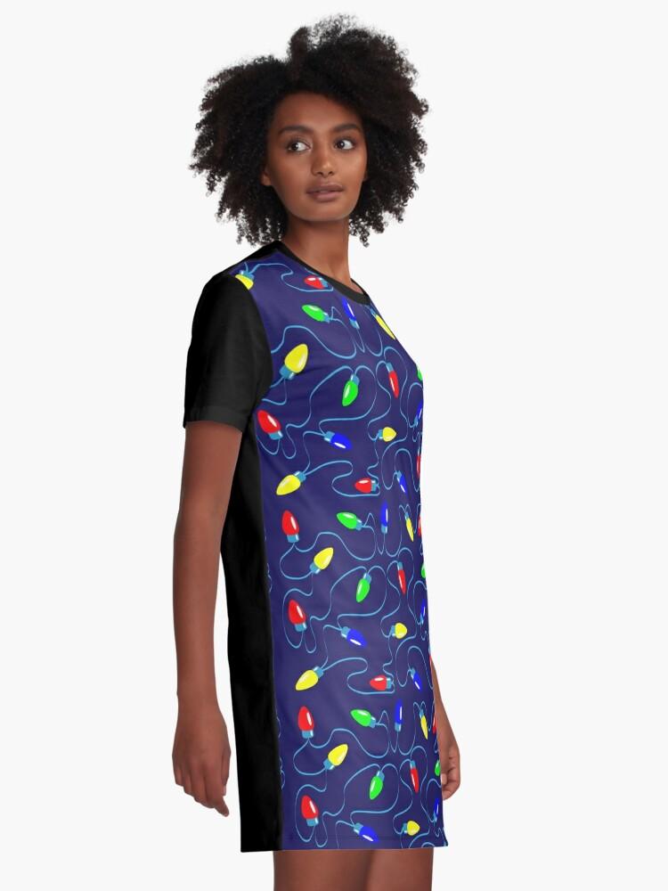 Alternate view of Christmas Lights Christmas Print Graphic T-Shirt Dress