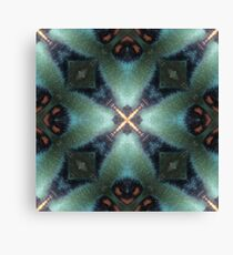 Gold, Teal, Rust and Navy Verdigris Circle and Cross Pattern - 3D Micro Image Photo  Canvas Print