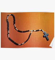Christian Cross Necklace With Beads Poster