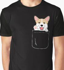 Corgi In Pocket T-Shirt Niedliche Pfoten Blush Smile Puppy Emoji Grafik T-Shirt