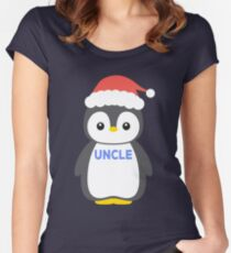 Santa Hat Penguin Uncle Christmas Funny Pajamas Gift Women's Fitted Scoop T-Shirt