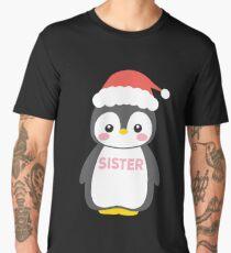 Santa Hat Penguin Sister Christmas Funny Pajamas Gift Men's Premium T-Shirt