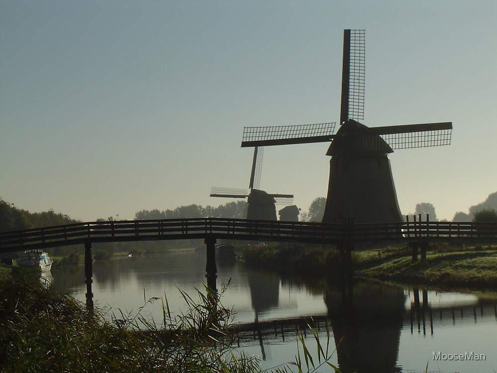 Windmills- 2 of 5: Misty morning mills by MooseMan