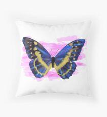 Blue Butterfly Pillow Throw Pillow