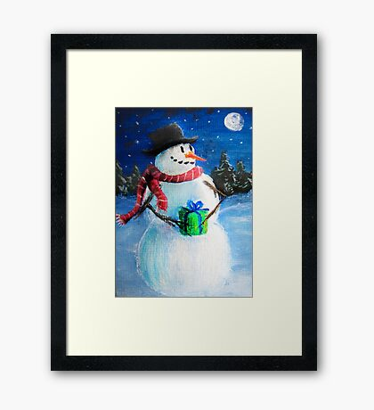 Cute Happy Snowman Holding Gift - Folk Painting- Holiday Card, Cristmas Card, Greeting Card, Framed Print