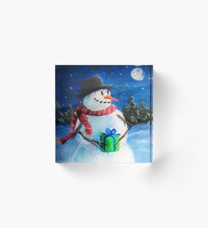Cute Happy Snowman Holding Gift - Folk Painting- Holiday Card, Cristmas Card, Greeting Card, Acrylic Block