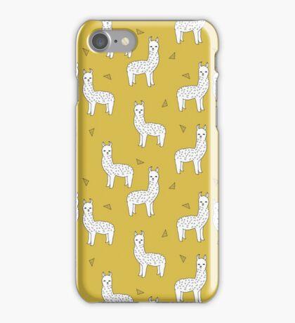 Alpaca - Mustard by Andrea Lauren iPhone Case/Skin