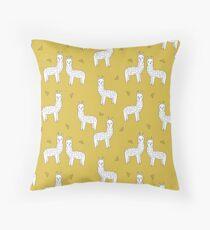 Alpaca - Mustard by Andrea Lauren Throw Pillow