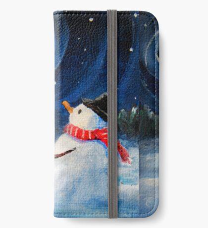 Snowman Gazes at Night Sky & Moon - Folk Painting - Holiday Card, Cristmas Card, Greeting Card, Winter Card, Snowman Card, Greeting Card, Postcard iPhone Wallet