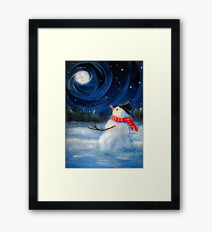 Snowman Gazes at Night Sky & Moon - Folk Painting - Holiday Card, Cristmas Card, Greeting Card, Winter Card, Snowman Card, Greeting Card, Postcard Framed Print