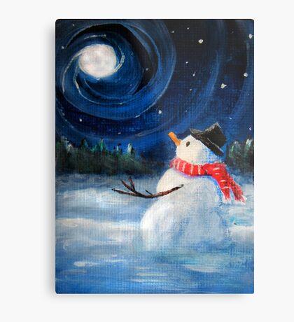 Snowman Gazes at Night Sky & Moon - Folk Painting - Holiday Card, Cristmas Card, Greeting Card, Winter Card, Snowman Card, Greeting Card, Postcard Metal Print