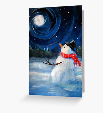 Snowman Gazes at Night Sky & Moon - Folk Painting - Holiday Card, Cristmas Card, Greeting Card, Winter Card, Snowman Card, Greeting Card, Postcard Greeting Card