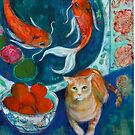 Beijing And The Koi Painting by Maria Pace-Wynters