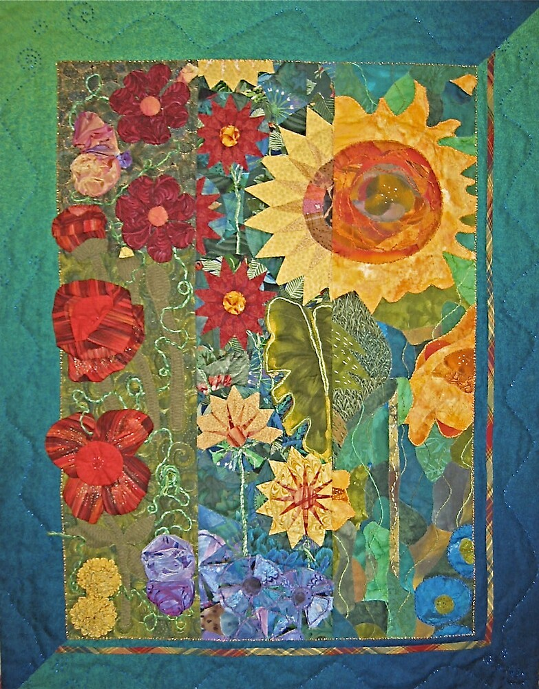Garden Tryptich by quiltgranny