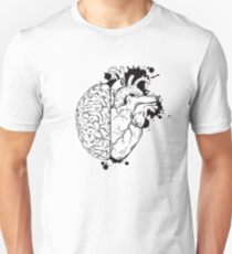 Heart and Head Brain with Realistic Heart Unisex T-Shirt