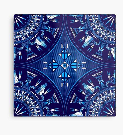 Buffalo Gathering Blue Metal Print