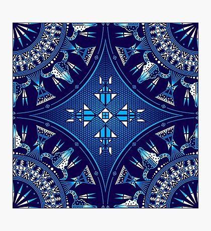 Buffalo Gathering Blue Photographic Print