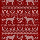 Ugly Christmas sweater dog edition - Finnish hound - Suomenajokoira red by Camilla Mikaela Häggblom