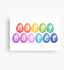 Happy Easter with colorful eggs Canvas Print