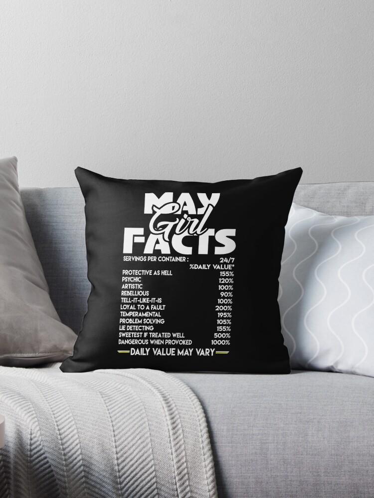 'May Girl Facts T-shirt' Throw Pillow by benshop