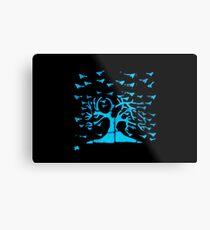 Glowing Bacterial Art - Bird Tree Metal Print