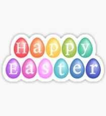 Happy Easter with colorful eggs Sticker