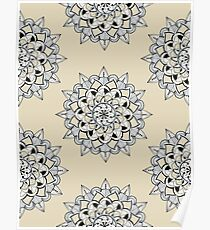 Repeat pattern mandalas on colored background Poster