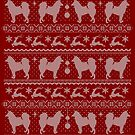 Ugly Christmas sweater dog edition - Finnish spitz - Suomen pystykorva red by Camilla Mikaela Häggblom
