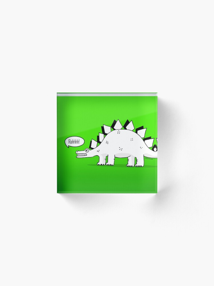 Alternate view of Cartoon Stegosaurus Acrylic Block