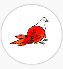 Fat Red Bird Sticker