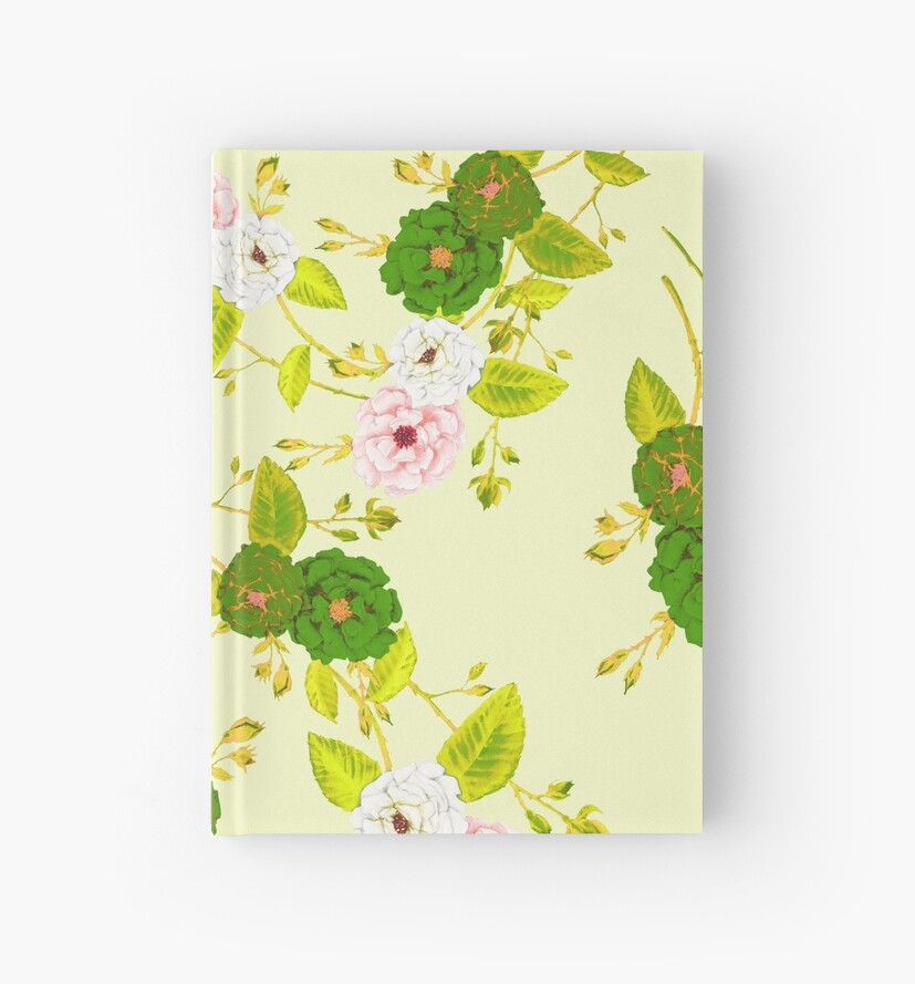 Climbing Roses, Green & Pink on Yellow by ThistleandFox