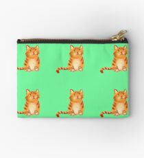 Ginger Cat on green Studio Pouch