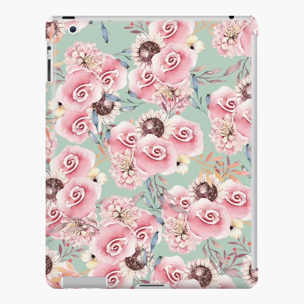 Rosas botánicas de la acuarela rosada en colores pastel del vintage Funda y vinilo para iPad