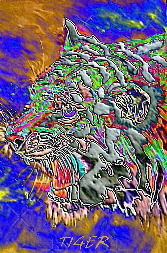 psychedelic tiger by dnlddean