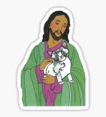 Jesus Holding Scared Cat Sticker