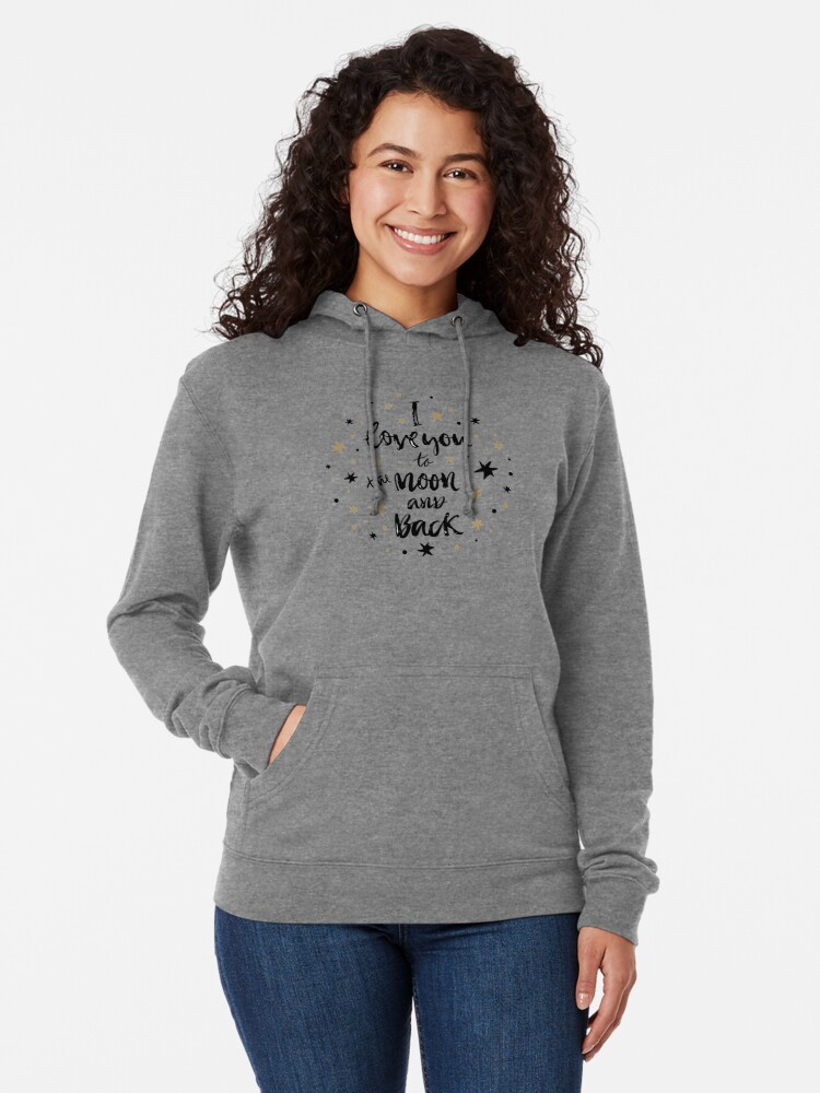 Alternate view of I Love You to the Moon and Back with Gold and Black Stars Lightweight Hoodie