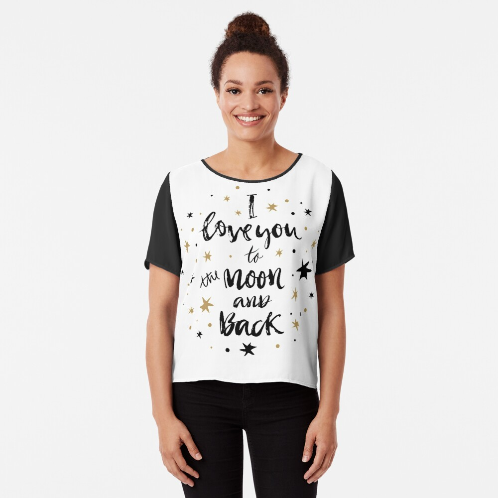 I Love You to the Moon and Back with Gold and Black Stars Chiffon Top
