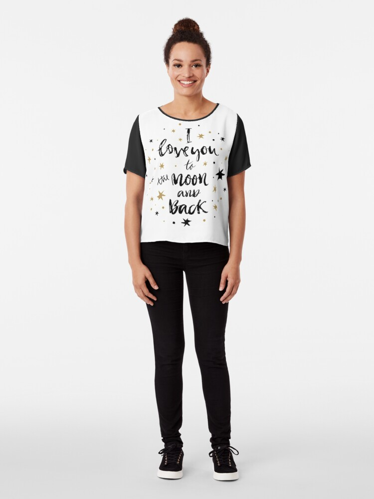 Alternate view of I Love You to the Moon and Back with Gold and Black Stars Chiffon Top