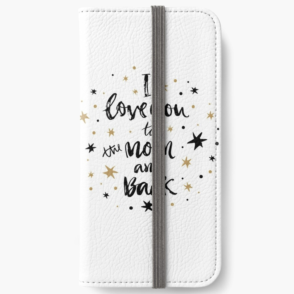 I Love You to the Moon and Back with Gold and Black Stars iPhone Wallet