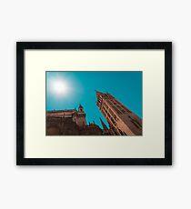 La Giralda Bell Tower Brilliantly Lit in Teal and Orange Framed Print