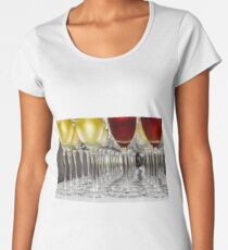 Set of glasses ready for the champagne, perspective view, wedding banquet Women's Premium T-Shirt