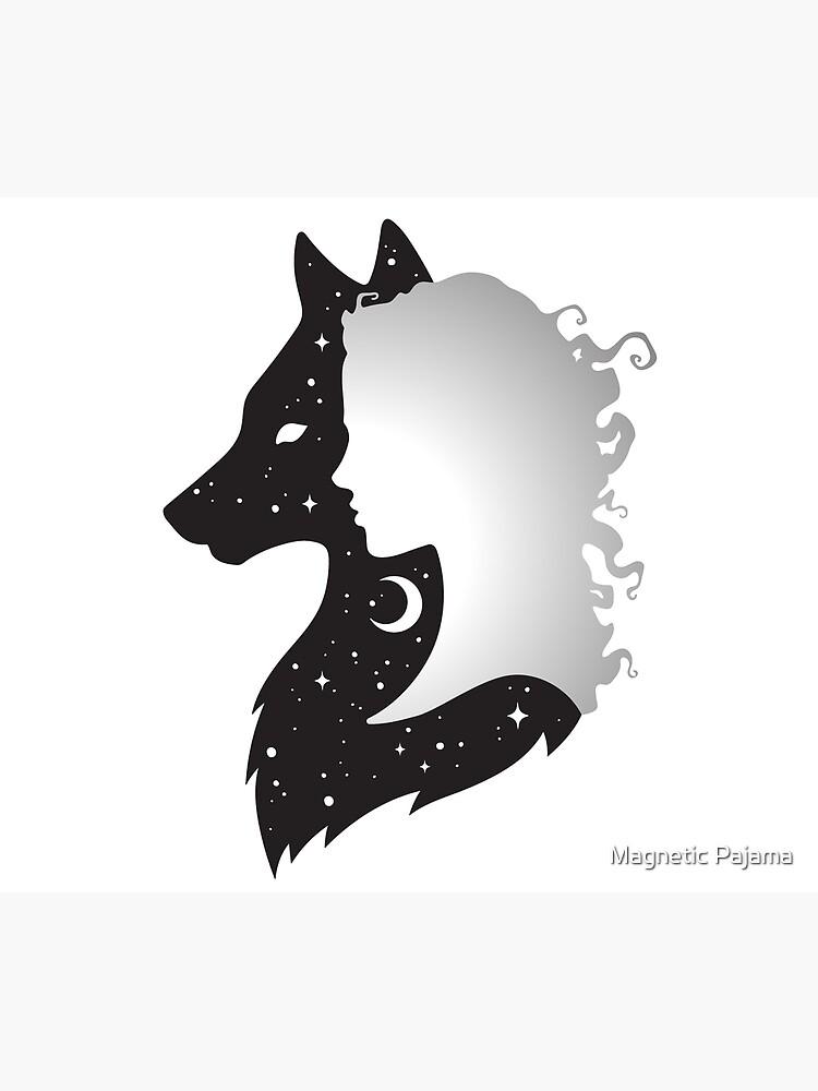 Sie Wolf Frau und Wolf mit Mond und Sternen von MagneticMama