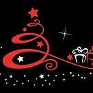 Tannenbaum mit Sternen und Geschenken. von Christine Krahl