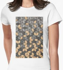 Concrete and Wood Cubes Women's Fitted T-Shirt