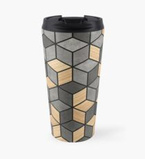 Concrete and Wood Cubes Travel Mug