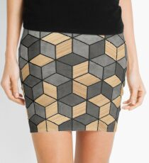 Concrete and Wood Cubes Mini Skirt