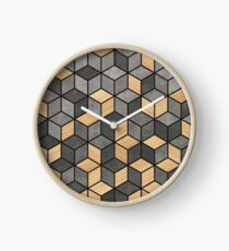 Concrete and Wood Cubes Clock