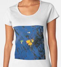Autumn maple leaf on the blue lake water, calm colorful postcard Women's Premium T-Shirt