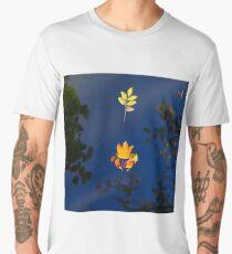 Autumn maple leaf on the blue lake water, calm colorful postcard Men's Premium T-Shirt